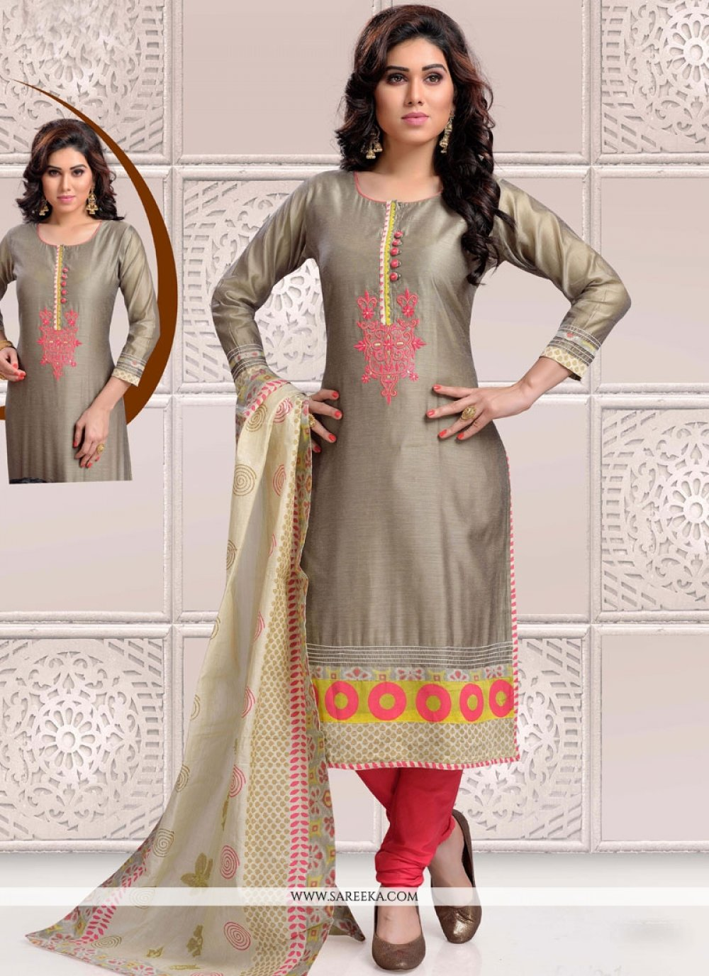 Chanderi Grey Embroidered Work Readymade Suit