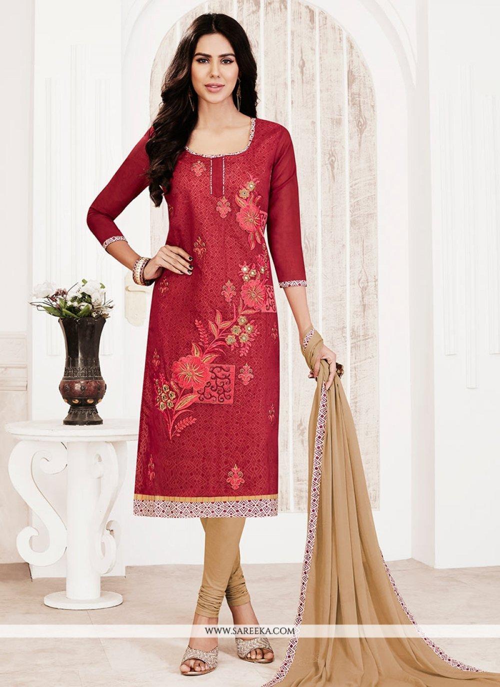 Chanderi Lace Work Churidar Suit