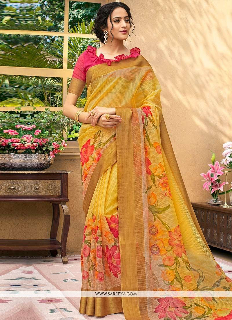 Chanderi Multi Colour Printed Saree