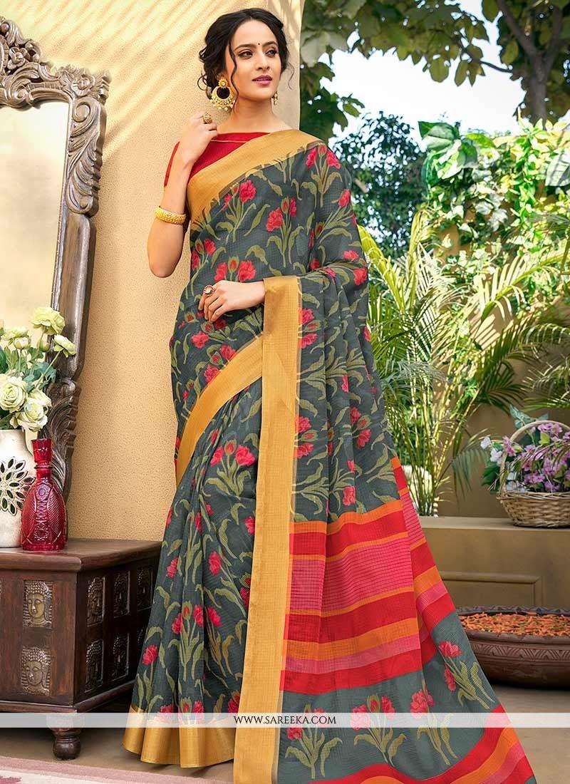 Chanderi Multi Colour Printed Saree