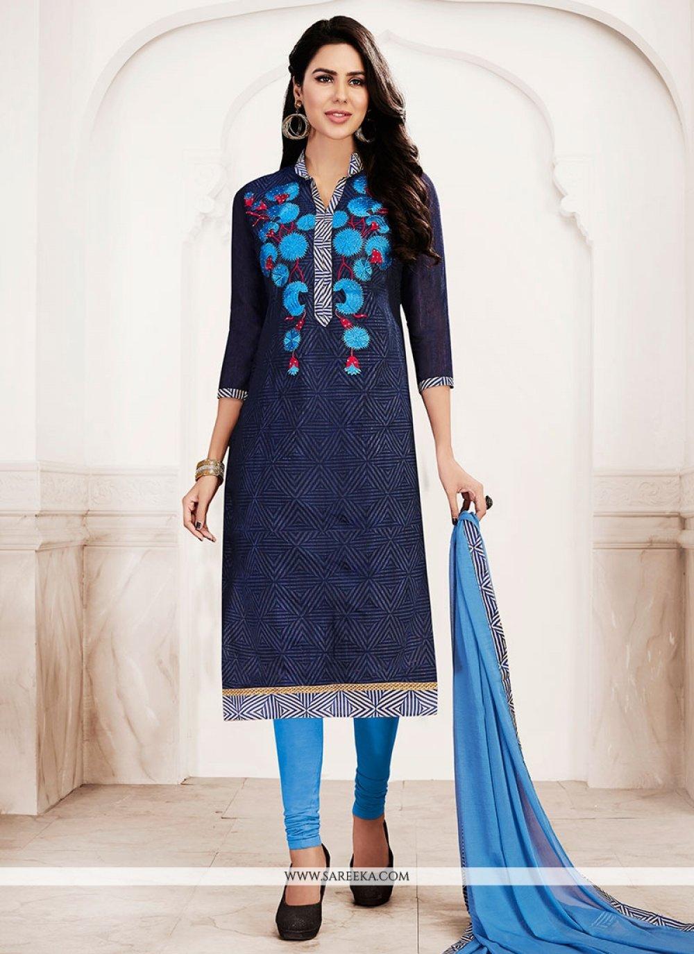 Chanderi Navy Blue Lace Work Churidar Suit