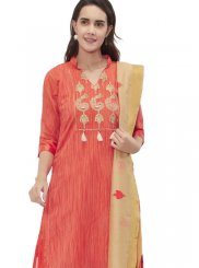 Chanderi Orange Fancy Churidar Suit