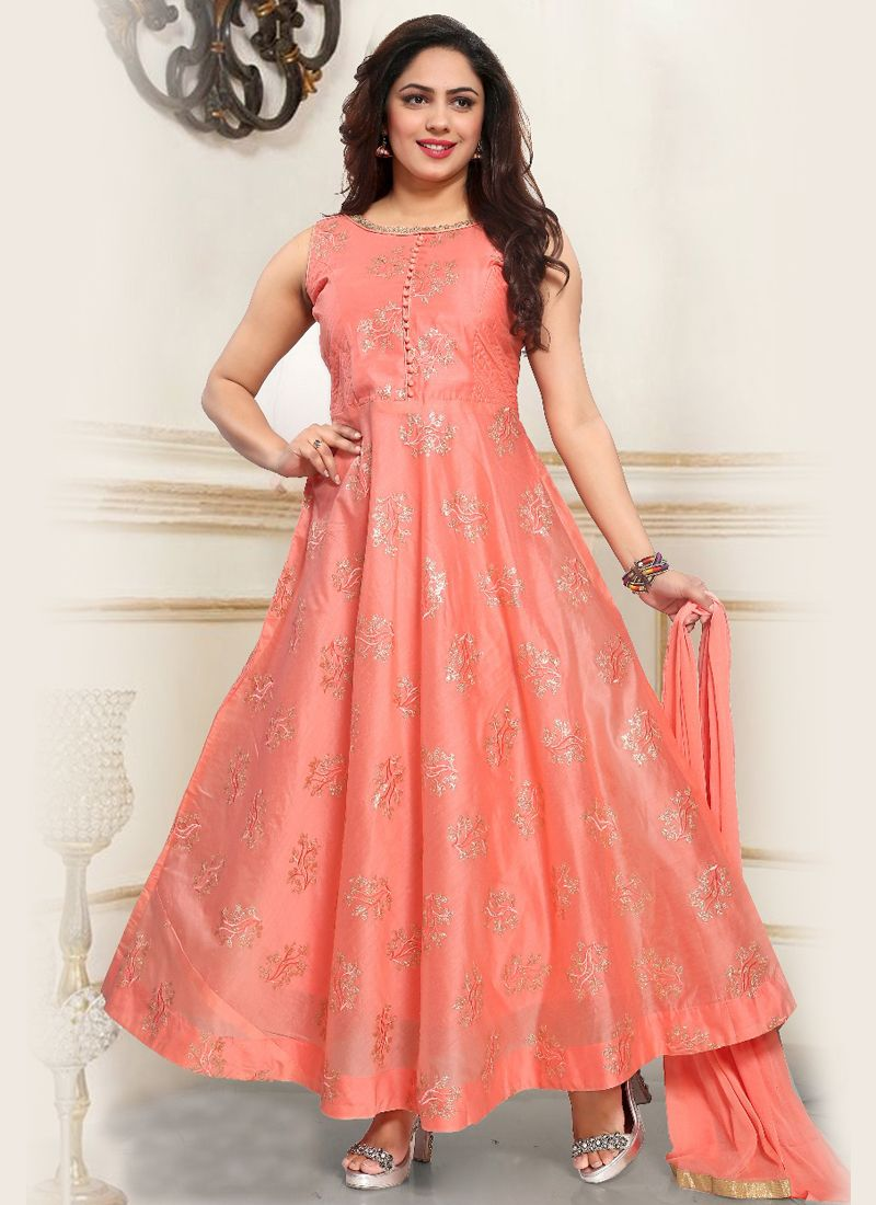 Chanderi Pink Fancy Readymade Suit