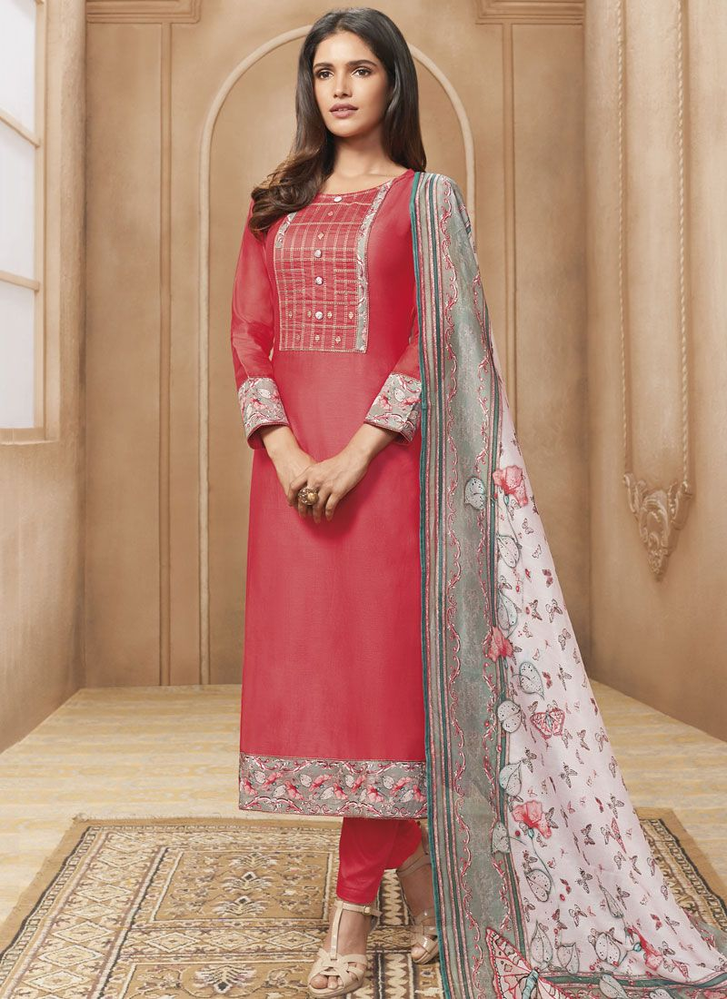 Chanderi Print Rose Pink Designer Straight Suit