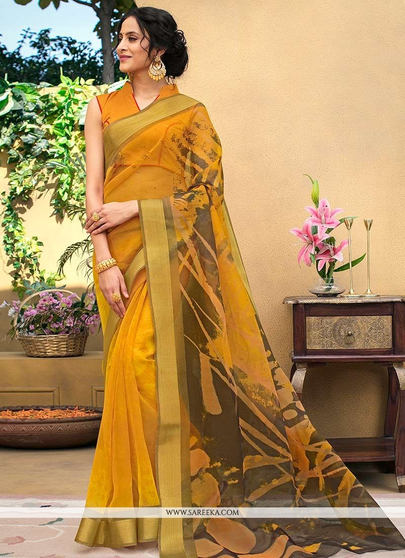 Chanderi Print Work Printed Saree