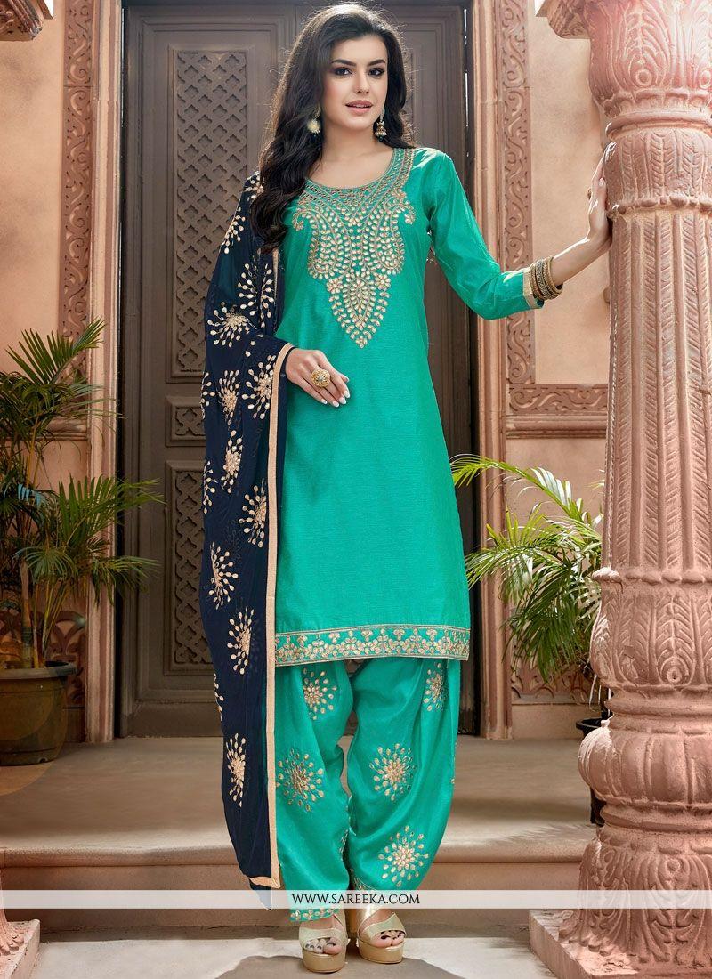 Chanderi Sea Green Lace Work Punjabi Suit