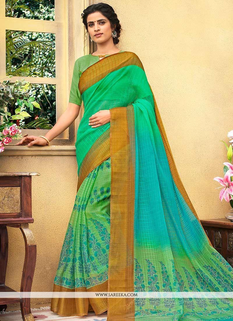 Chanderi Sea Green Printed Saree