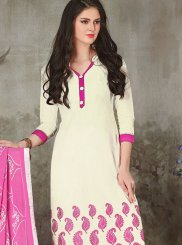 Chanderi White Embroidered Churidar Suit
