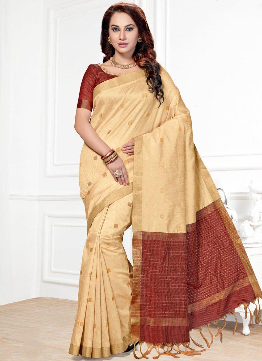 Chanderi Woven Beige Traditional  Saree