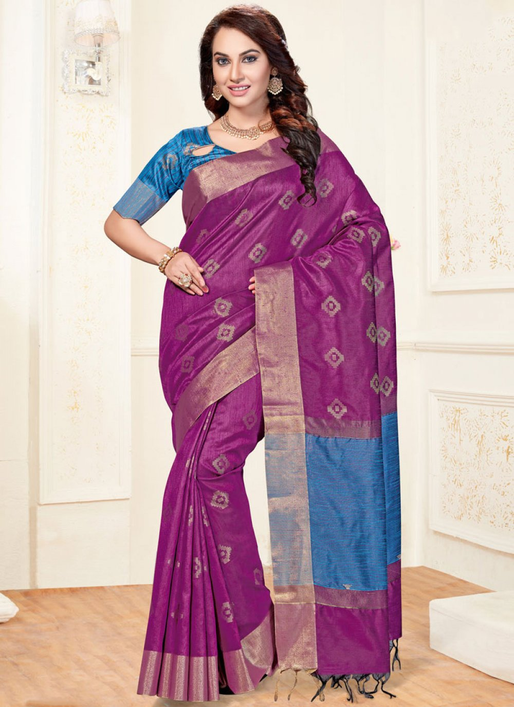 Chanderi Woven Purple Traditional  Saree