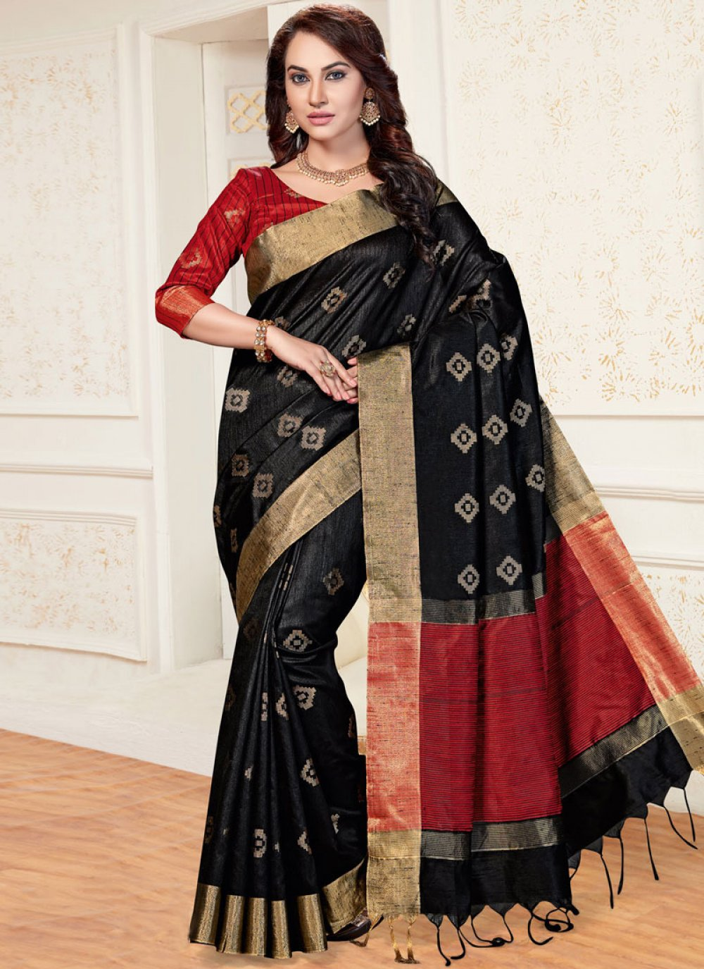 Chanderi Woven Traditional  Saree in Black