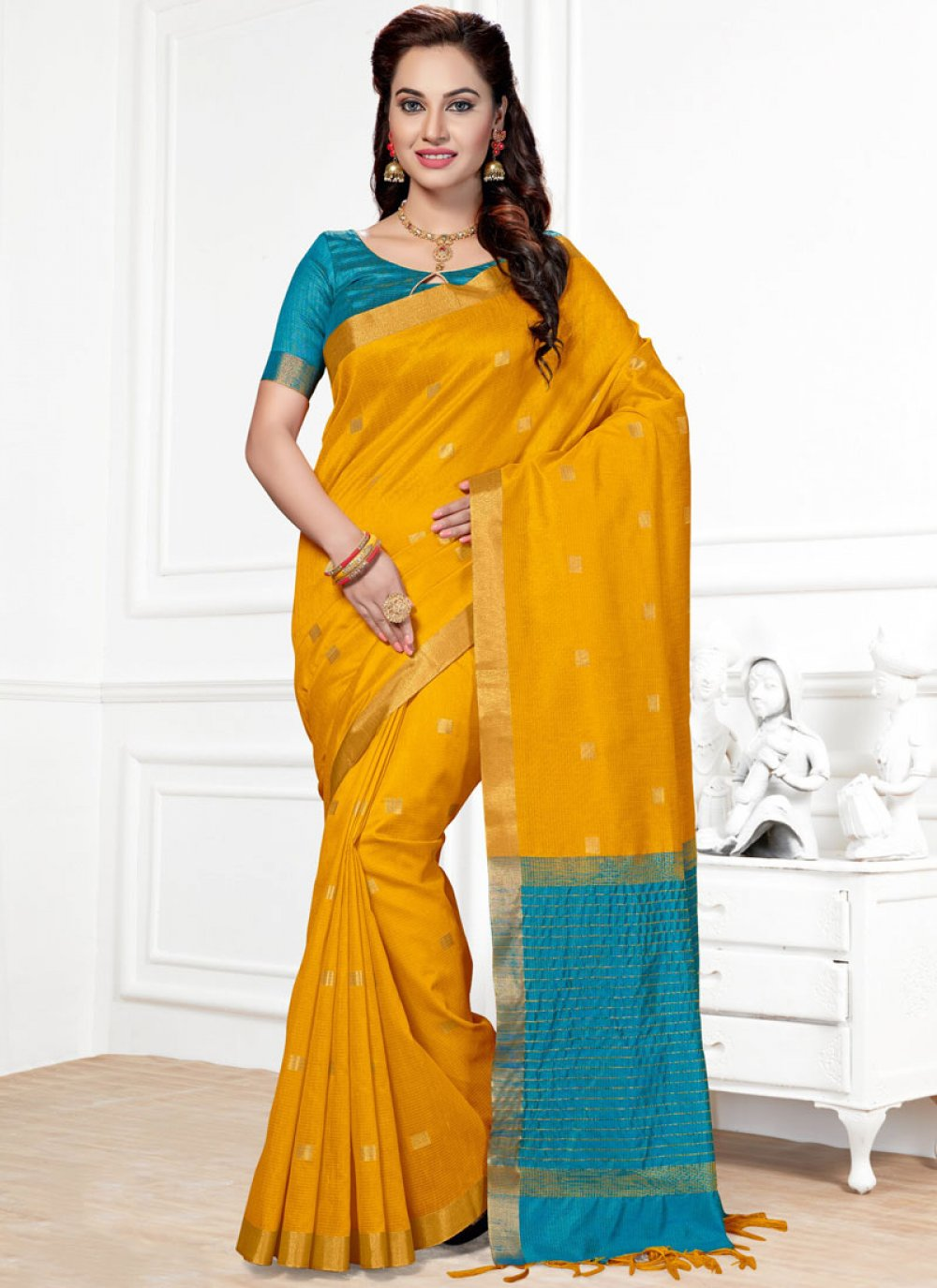 Chanderi Woven Traditional  Saree in Mustard