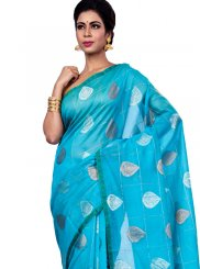 Chanderi Zari Classic Designer Saree in Blue