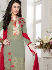 Churidar Salwar Suit Embroidered Cotton   in Grey