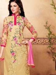 Churidar Suit Embroidered Cotton   in Beige