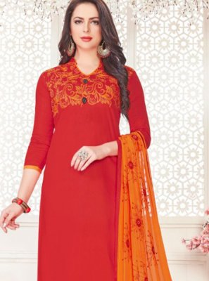 Churidar Suit Embroidered Cotton Satin in Red