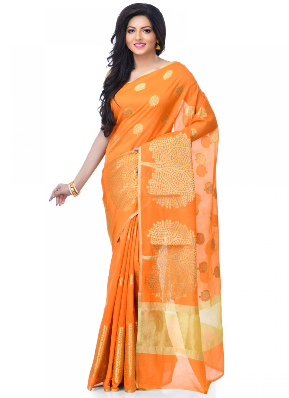 Classic Designer Saree Zari Banarasi Silk in Orange