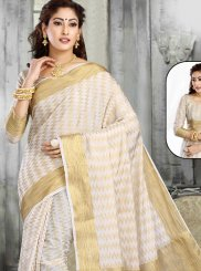 Classic Designer Saree Zari Jacquard in Beige and White