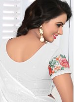 Classic Saree Embroidered Faux Georgette in White