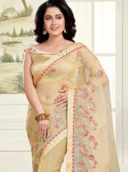 Classic Saree Embroidered Organza in Gold