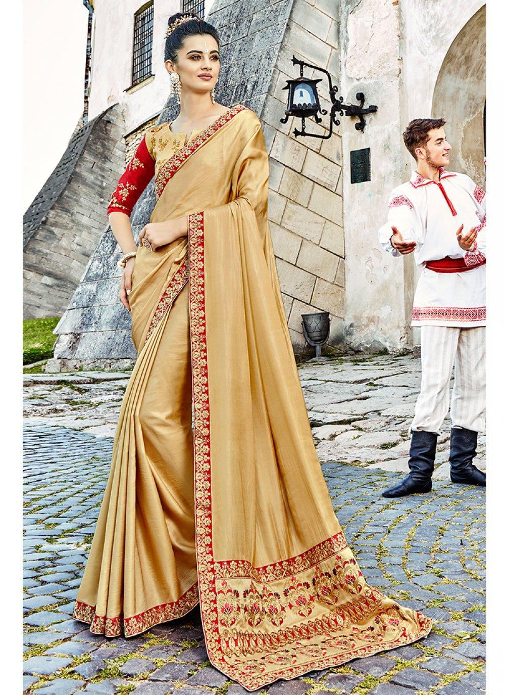 Classic Saree Embroidered Satin Silk in Beige
