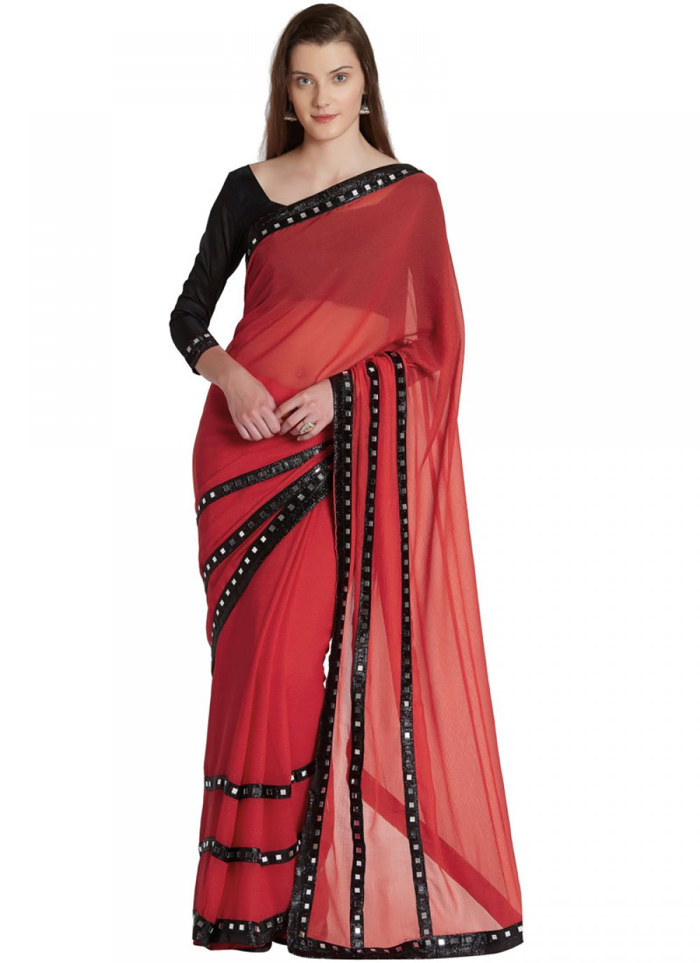 Classic Saree Lace Faux Chiffon in Red