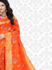Classic Saree Print Net in Orange