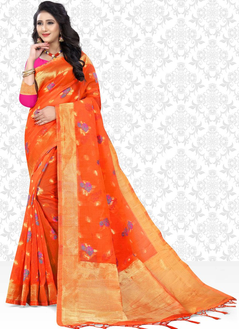 Classic Saree Print Net in Orange