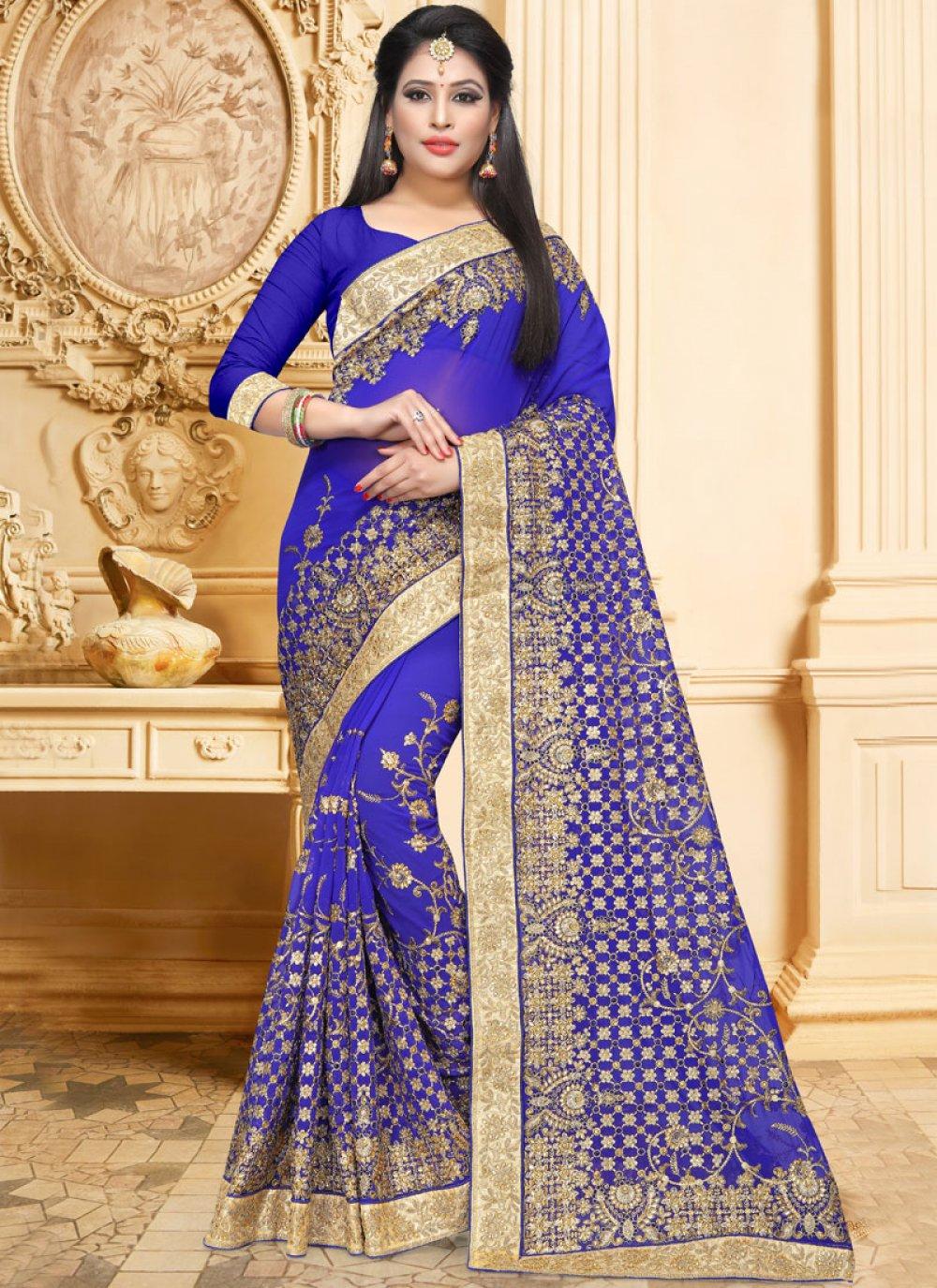 Classic Saree Resham Faux Georgette in Blue
