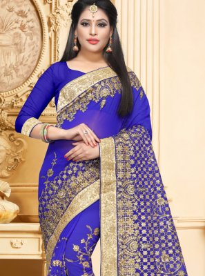 Classic Saree Resham Faux Georgette in Blue