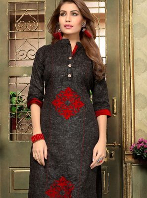 Cotton   Applique Casual Kurti in Black