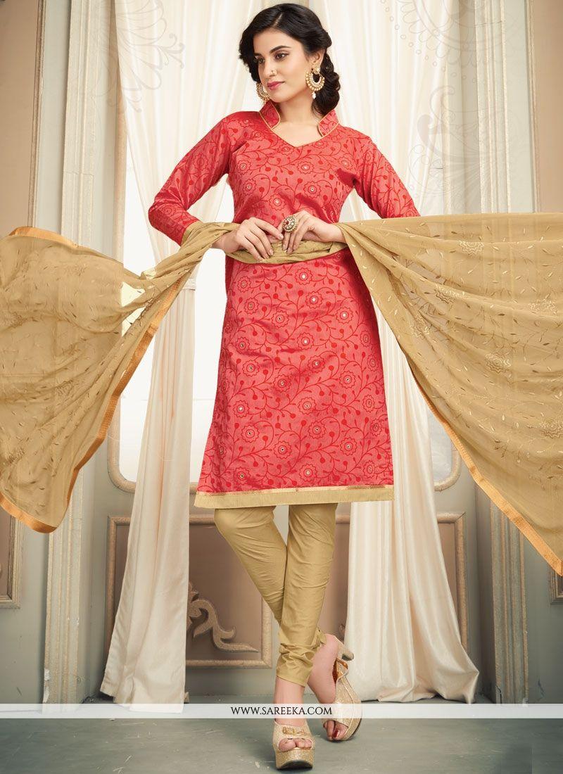 Cotton   Beige and Peach Salwar Kameez