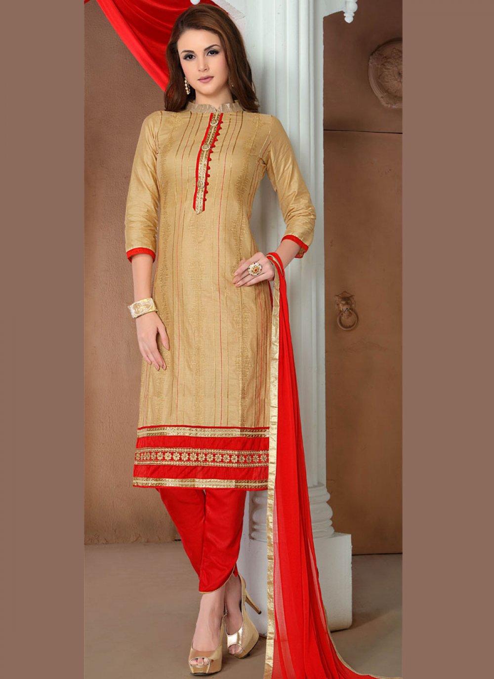 Cotton   Beige Embroidered Salwar Suit