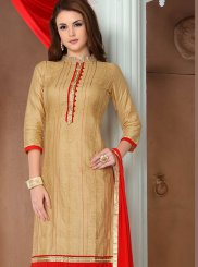Cotton   Beige Embroidered Salwar Suit