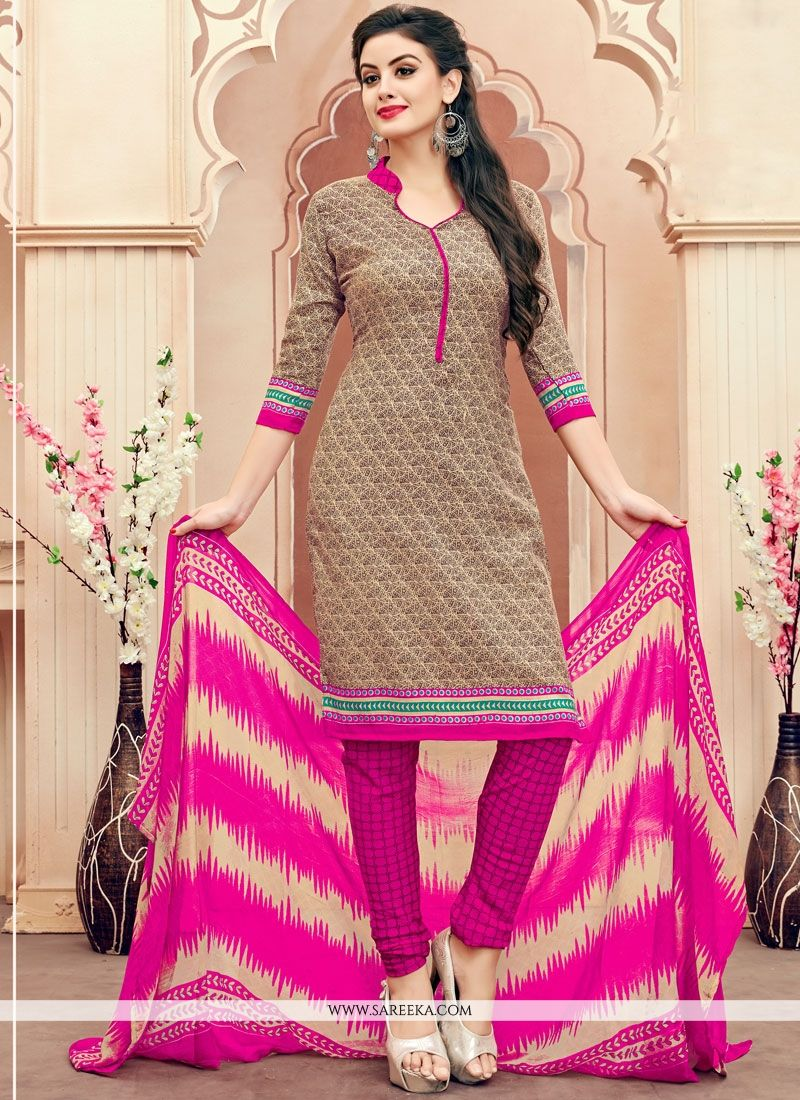 Cotton   Beige Print Work Churidar Suit