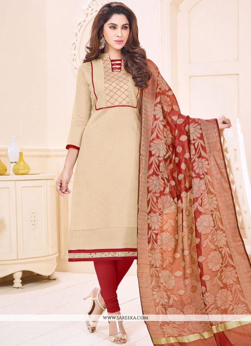 Cotton   Beige Print Work Churidar Suit