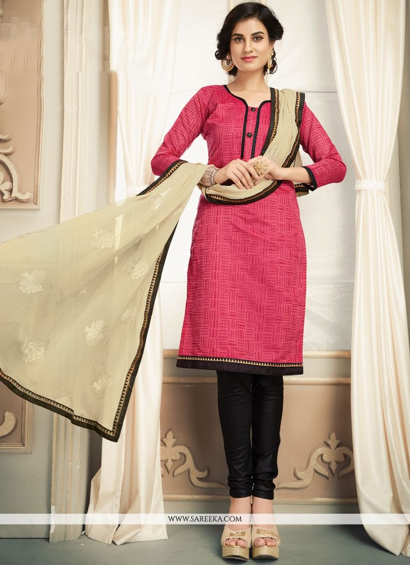 Cotton   Black and Pink Salwar Kameez