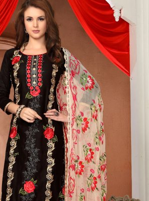Cotton   Black and Red Embroidered Pant Style Suit