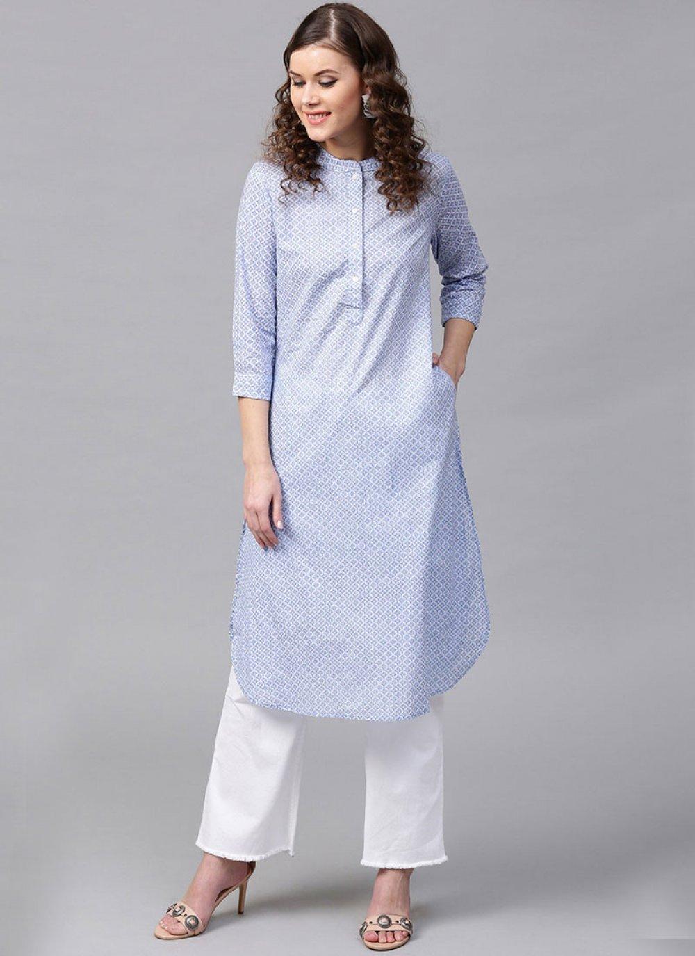 Cotton   Blue Casual Kurti