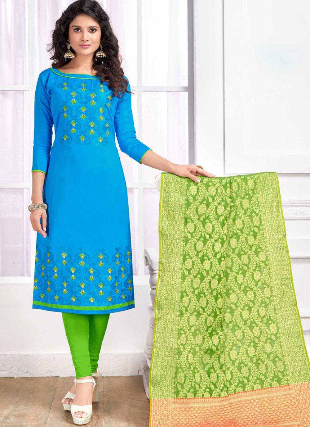 Cotton   Blue Churidar Salwar Kameez