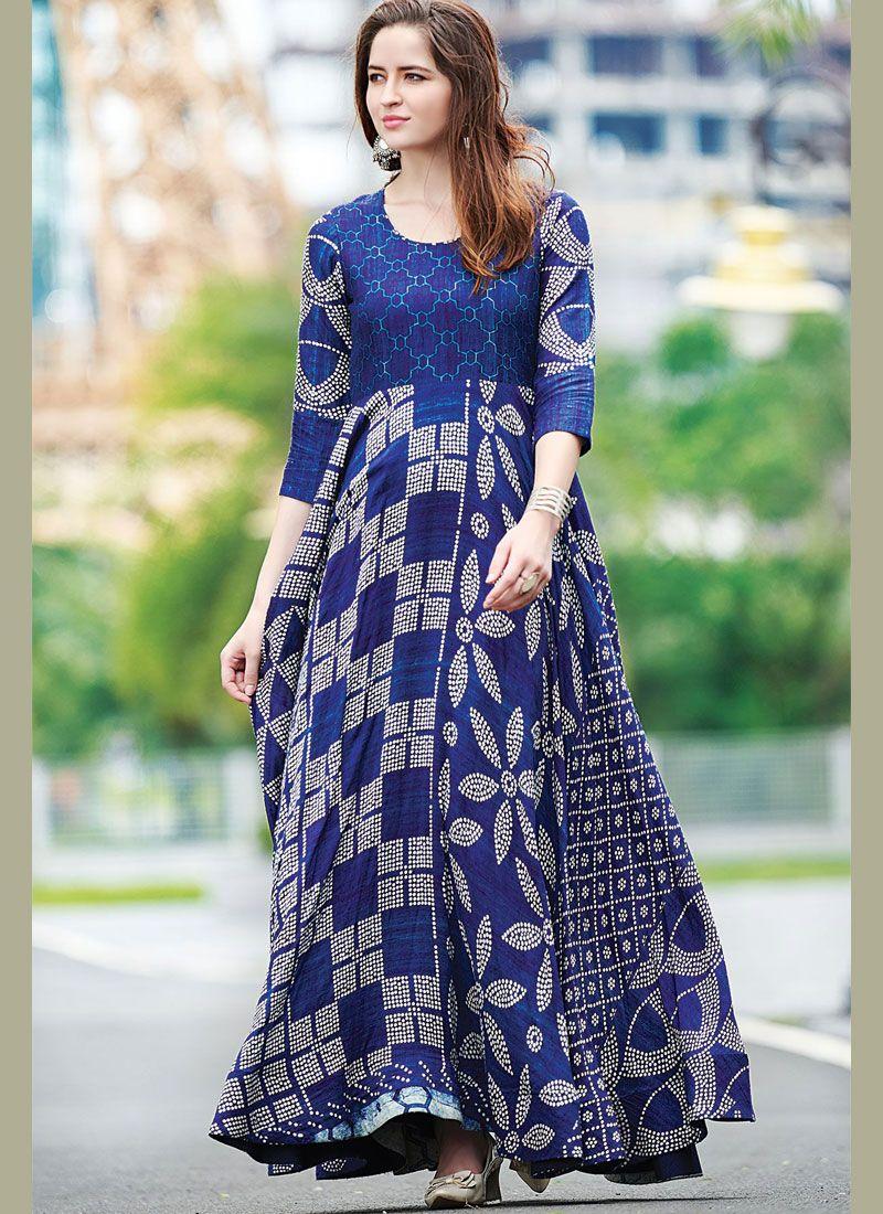 ac8873533a Shop Cotton Blue Digital Print Designer Gown Online   89498 -