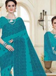 Cotton   Blue Print Work Casual Saree