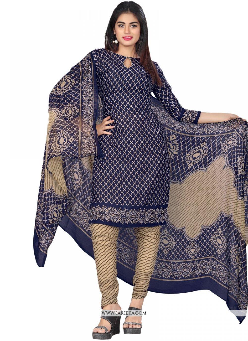 Cotton   Blue Print Work Churidar Suit