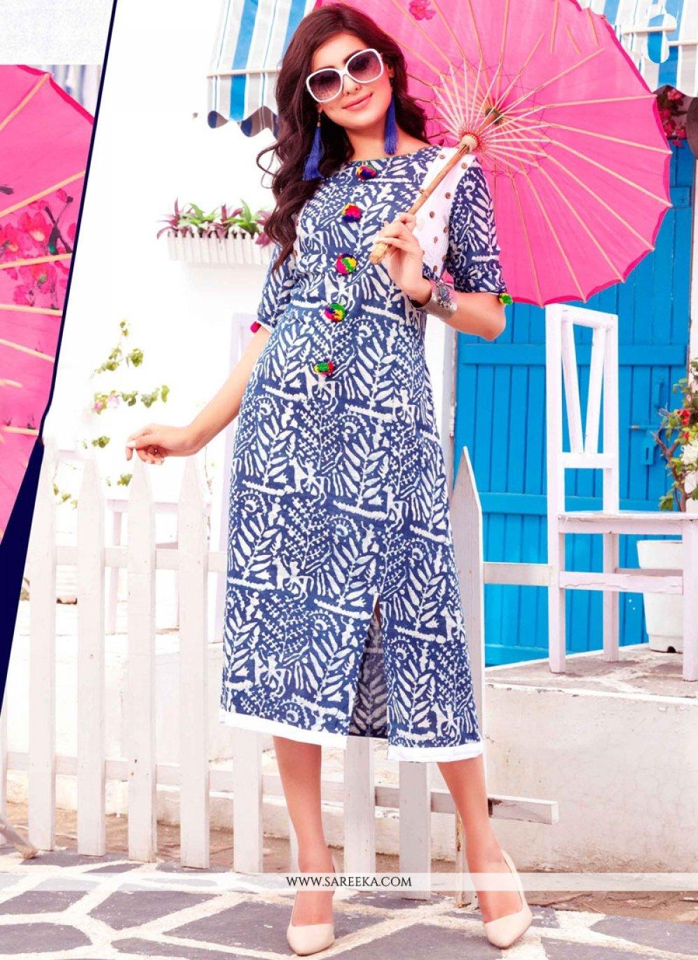 Cotton   Blue Print Work Party Wear Kurti