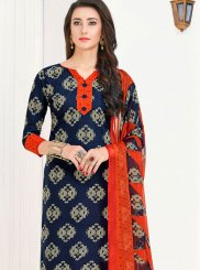 Cotton   Blue Printed Churidar Suit