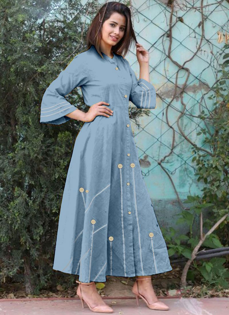 Cotton   Buttons Work Casual Kurti