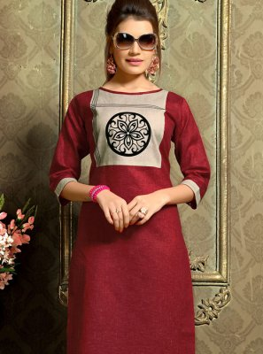 Cotton   Casual Kurti in Maroon