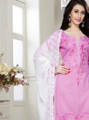 Cotton   Churidar Designer Suit in Pink