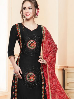 Cotton   Churidar Salwar Kameez in Black