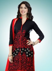 Cotton   Designer Straight Suit in Black
